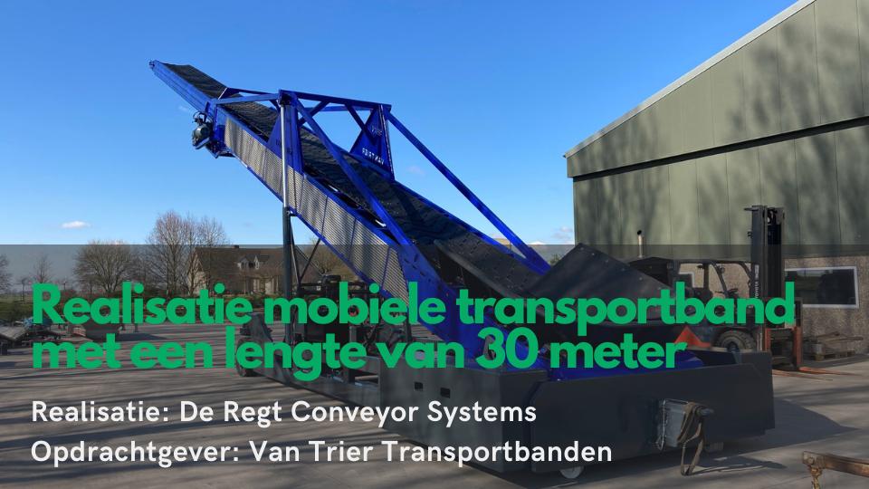 Mobiele telescopische transportband van 30 meter